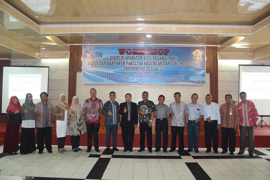 Kegiatan Workshop Disiplin ASN Dosen dan Karyawan FKIP Universitas Bengkulu bersama Dr. Mamat Rahmat, M.M., dari Pusat Pengembangan ASN BKN