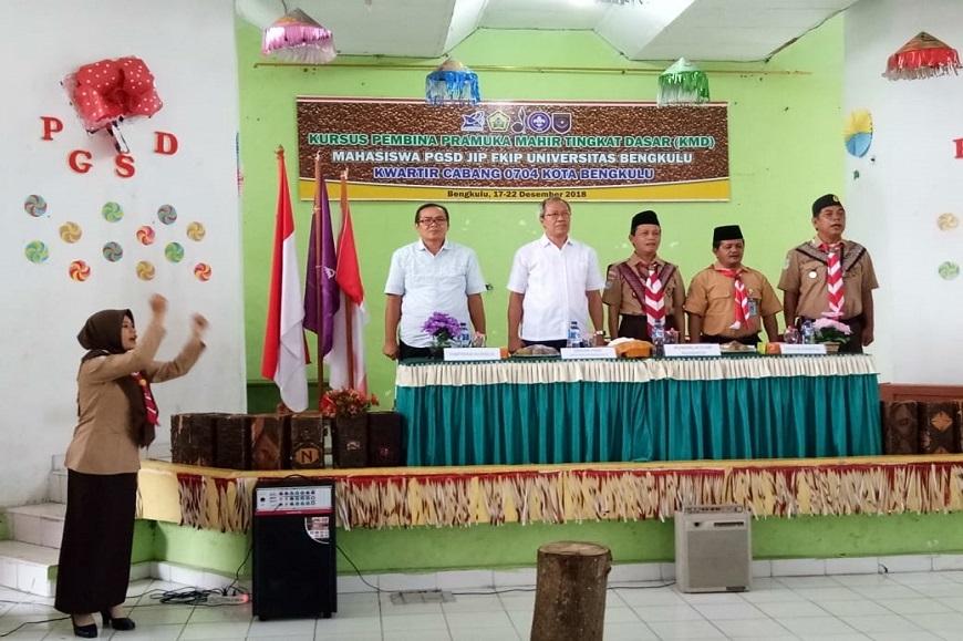 Kegiatan Kursus Mahir Tingkat Dasar (KMD) Pramuka Prodi PGSD dan Prodi PPG FKIP Universitas Bengkulu